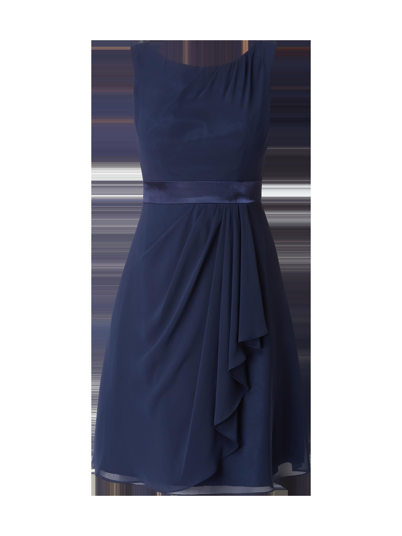 Luxuar Cocktailkleid aus Chiffon mit gelegten Falten Blau   Türkis - 1 ... 1fa400f942