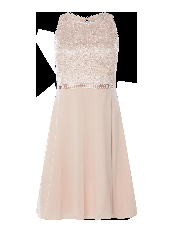 v.m. – cocktailkleid aus floraler spitze und chiffon – rosé