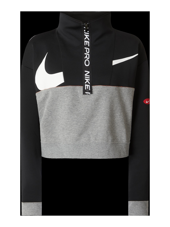NIKE Loose Fit Sweatshirt mit Logo Stickerei in Grau Schwarz