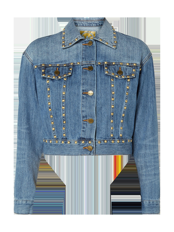 Krótka kurtka jeansowa z obszyciem nitami