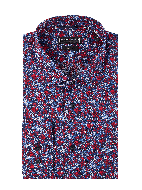 7c9cf4573c36f TOMMY-TAILORED-SF Koszula biznesowa o kroju slim fit ze wzorem w drobne  kwiaty w kolorze Niebieski / turkusowy zakupy online (9893438) w P&C ▷  wysyłka i ...