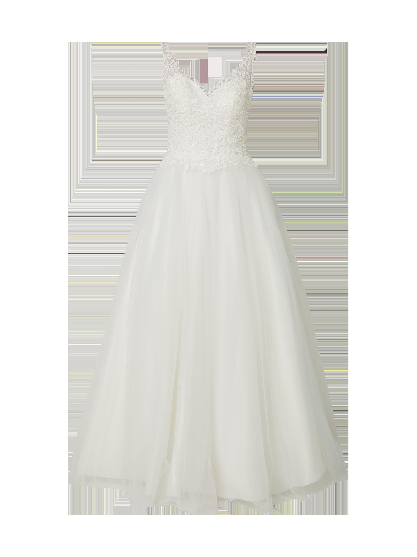 f5b5940fde2cf MASCARA Sukienka wieczorowa z tiulu z kwiatowymi haftami w kolorze Biały  zakupy online (9888220) w P&C ▷ wysyłka i zwrot 0zł