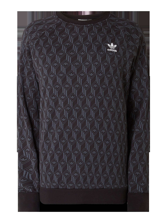 ADIDAS Sweatshirt mit Logo Muster in Grau Schwarz online