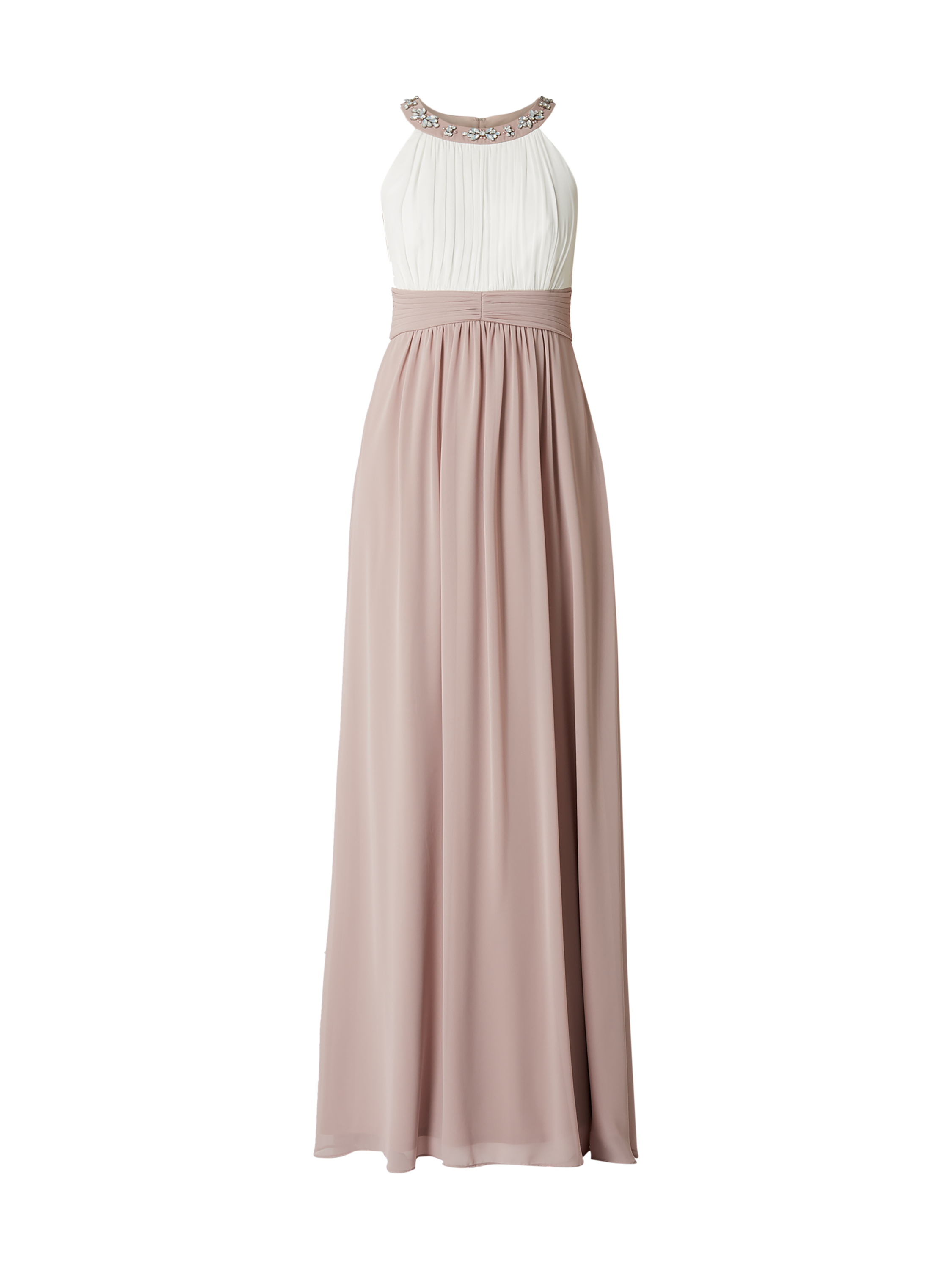 jake*s cocktail – two-tone-abendkleid mit blüten-applikationen – mauve