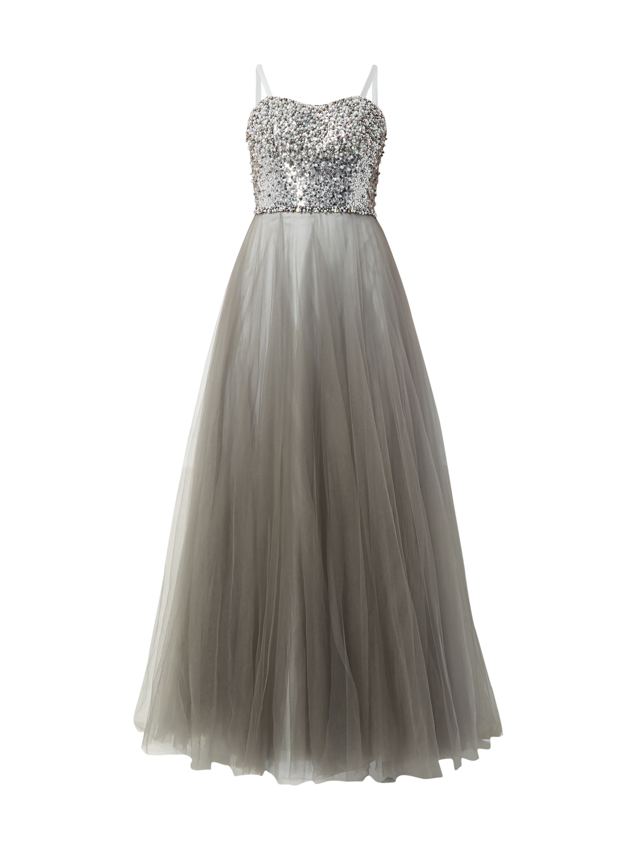 986d6fbdc2e235 LUXUAR Abendkleid mit Rockteil aus Mesh in Grau   Schwarz online kaufen  (9746777) ▷ P C Online Shop