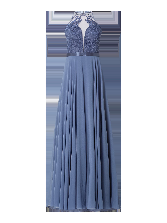 V.M. – Abendkleid mit Ziersteinbesatz – Hellblau