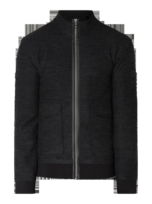 19bb2965385 BOSS-CASUAL Bluzon z filcu z kieszeniami z patką w kolorze Szary   czarny  zakupy online (9839640) w P C ▷ wysyłka i zwrot 0zł