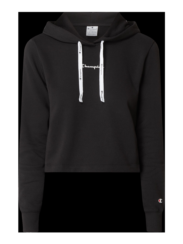 CHAMPION – Regular Fit Hoodie mit Logo Print – Schwarz