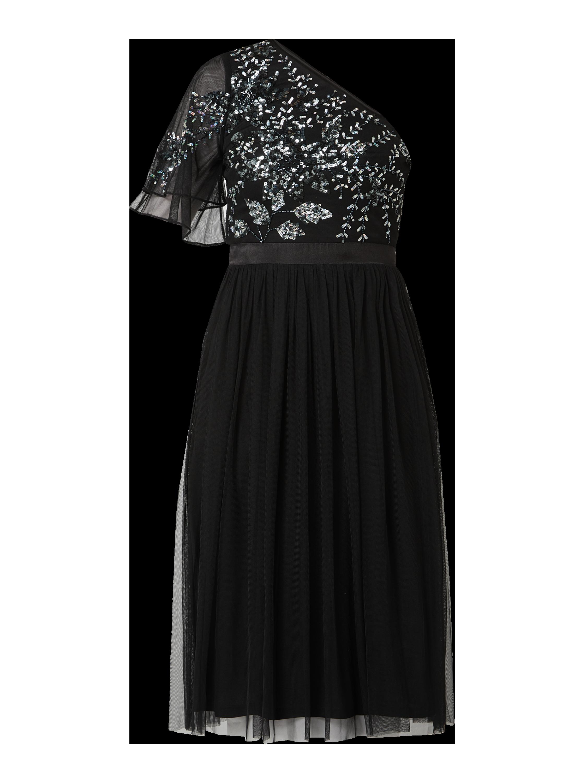 maya deluxe – cocktailkleid aus mesh mit pailletten-applikationen – schwarz