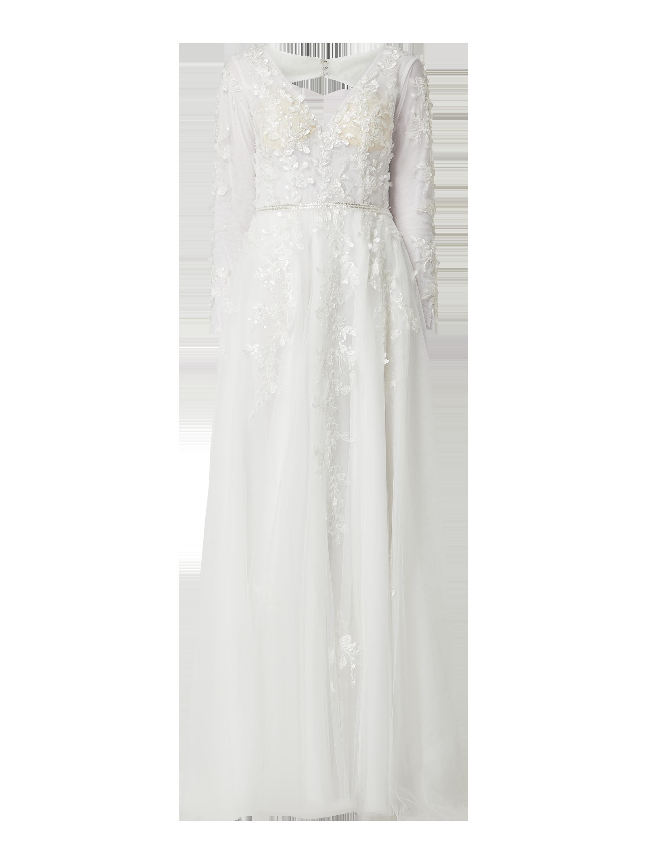 Unique Brautkleid Aus Spitze Und Chiffon In Weiss Online Kaufen 1277262 P C Online Shop