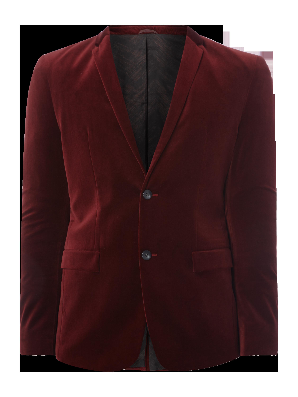 05f3188f13055 Calvin Klein – Slim Fit 2-Knopf-Sakko aus Samt – Bordeaux Rot