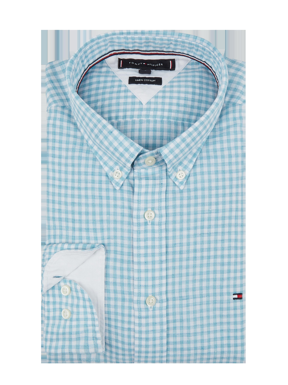 a2c0343db9645 TOMMY-HILFIGER Koszula lniana w kratkę vichy w kolorze Niebieski /  turkusowy zakupy online (9924588) w P&C ▷ wysyłka i zwrot 0zł