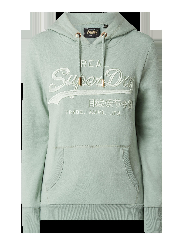 Superdry – Hoodie mit Logo Stickerei – Hellgrün