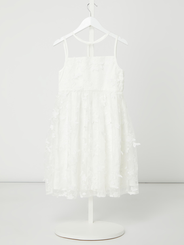 chi chi london – kleid aus mesh mit floralen stickereien modell 'nelly' –  offwhite
