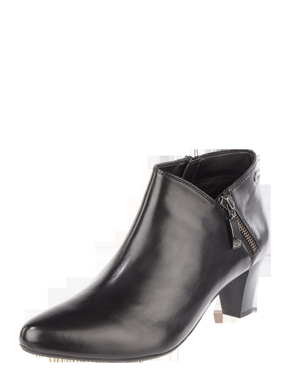 Gerry Weber Shoes – Stiefelette aus Leder mit Trichterabsatz – Schwarz