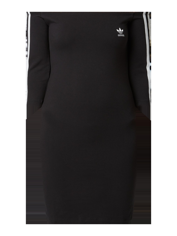 ADIDAS Originals – Off Shoulder Kleid mit Logo Streifen – Schwarz