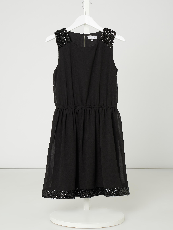 eisend – kleid aus chiffon mit pailletten-applikationen – schwarz