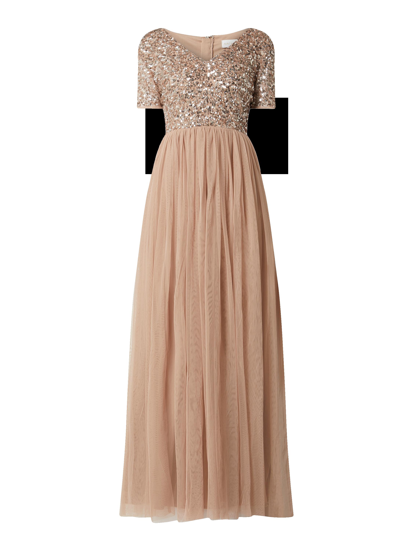 MAYA DELUXE – Abendkleid mit Pailletten-Applikationen – Taupe