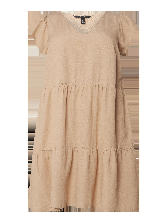 vero moda curve – plus size kleid mit volantärmeln modell 'visi' – beige