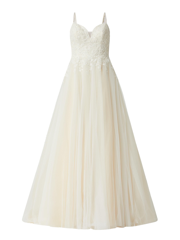 Luxuar – Brautkleid mit floralen Stickereien – Offwhite