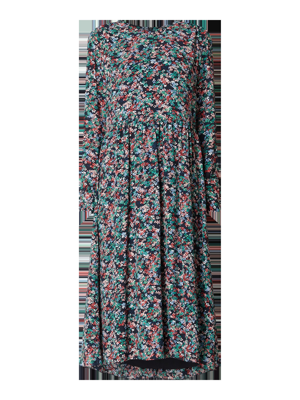 marc o'polo – kleid mit floralem muster – marineblau