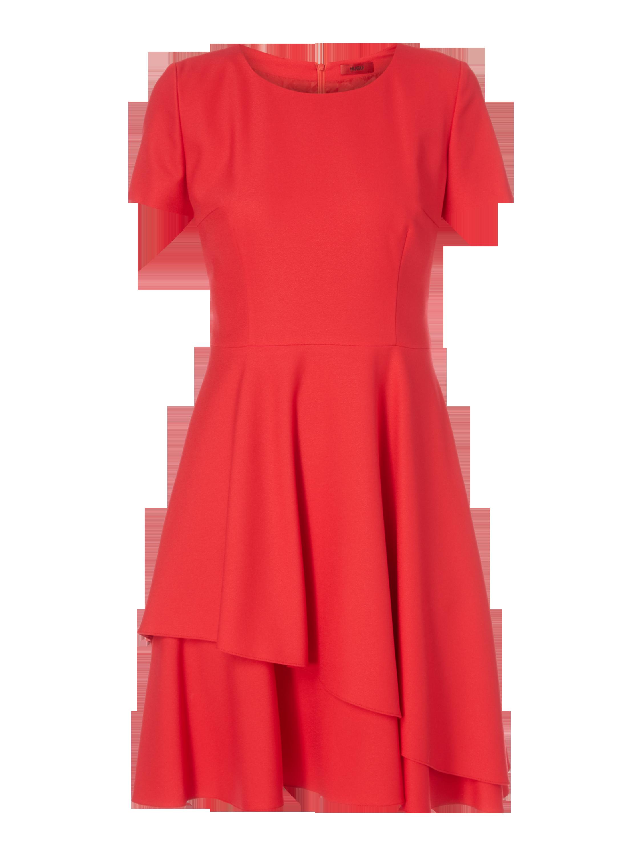 HUGO Kleid aus Krepp im Stufen-Look in Rot online kaufen (9646337 ...