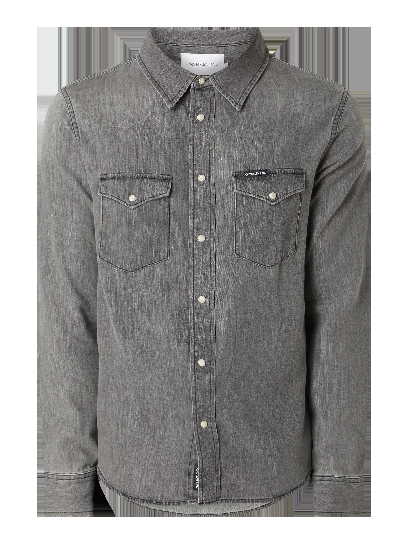 Calvin Klein Jeans – Slim Fit Jeanshemd aus Baumwolle – Mittelgrau