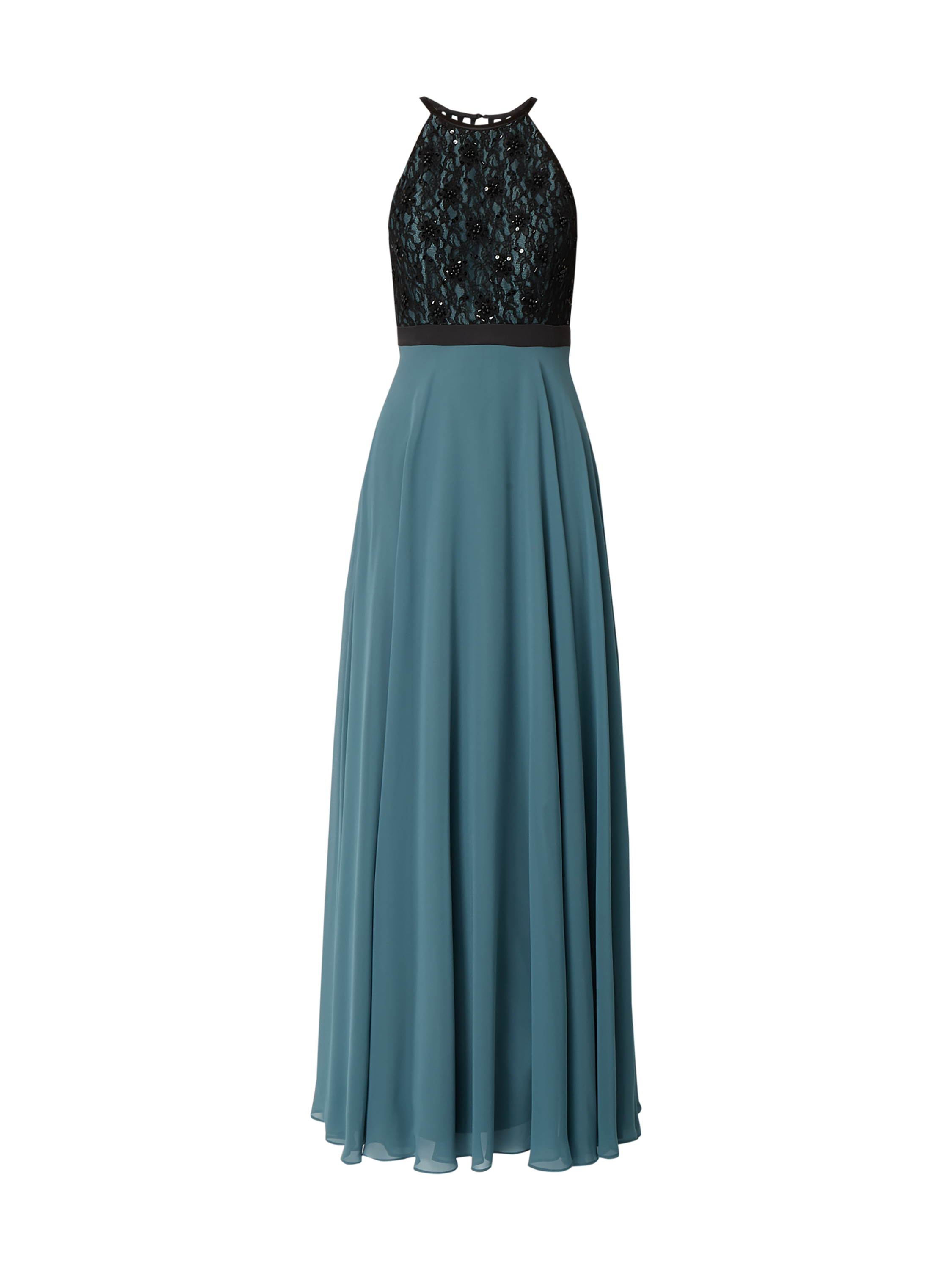 jake*s cocktail – two-tone-abendkleid mit spitzenbesatz – bottle