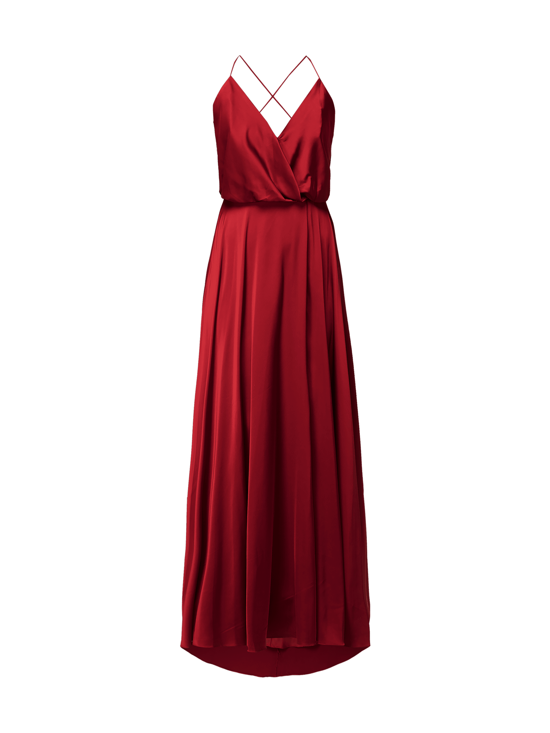 unique – abendkleid aus satin – kirschrot