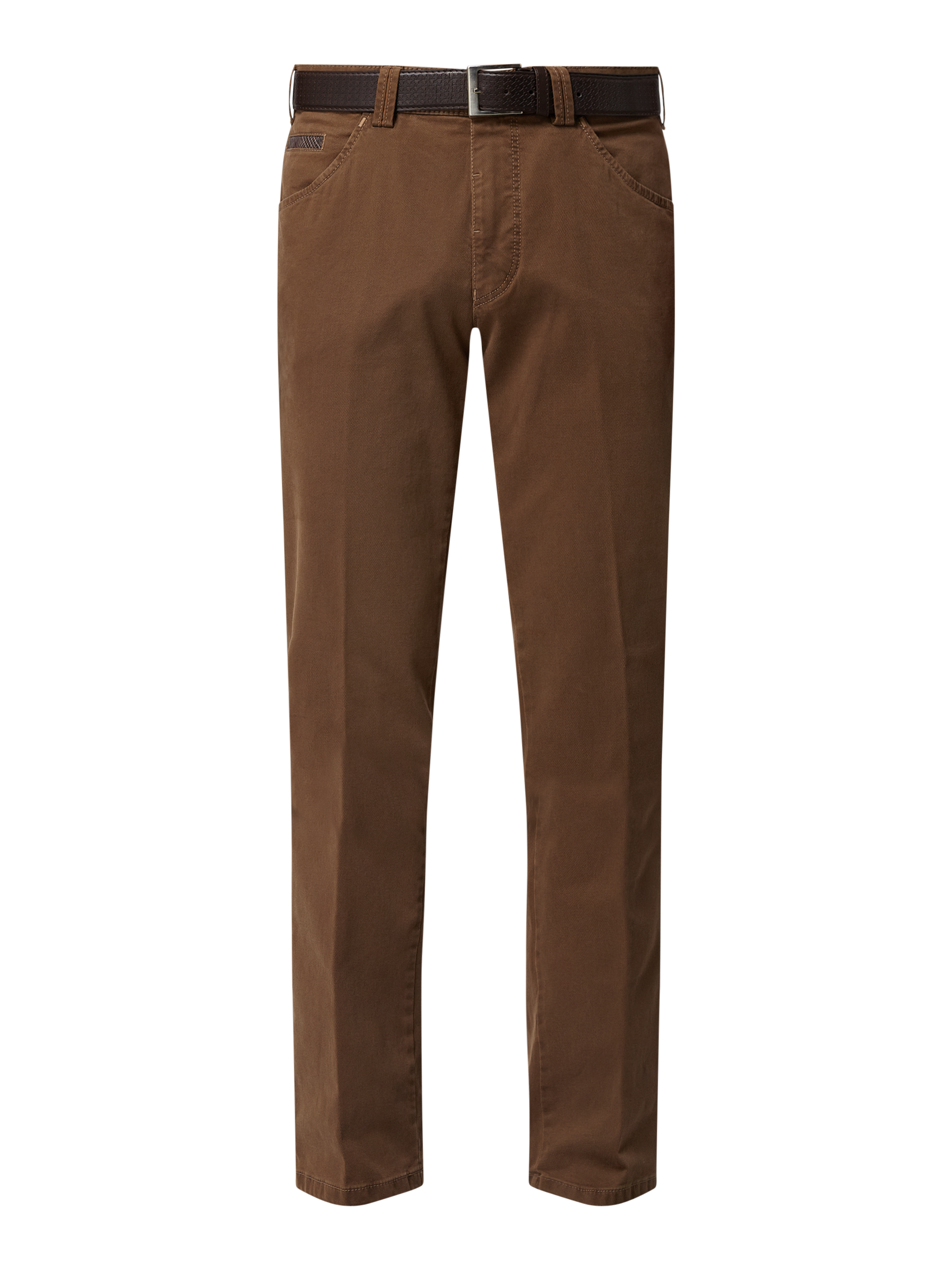 Meyer – Hose mit Stretch Anteil in gerader Passform – Cognac