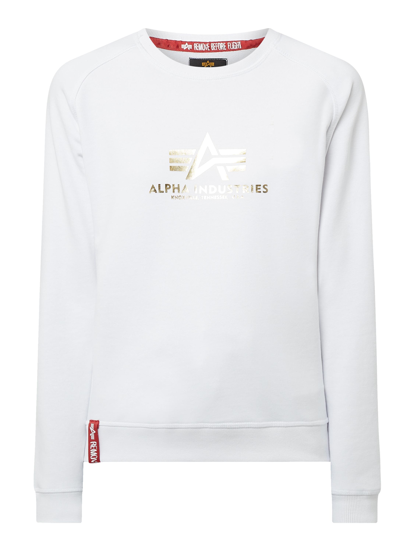 ALPHA INDUSTRIES Sweatshirt mit Logo Print in Metallic Optik