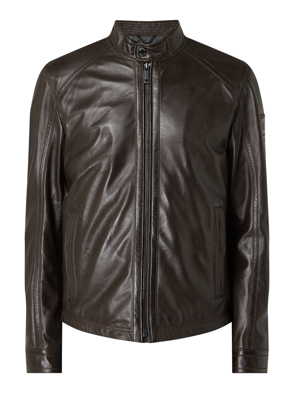 Strellson – Lederjacke mit Reißverschlusstaschen Modell 'Flag' – Dunkelbraun