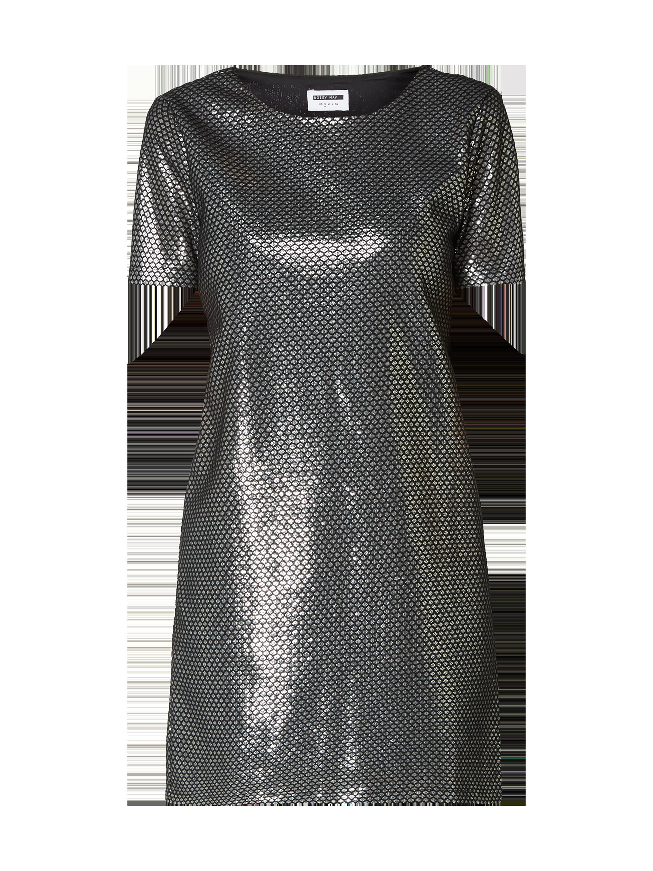 noisy may – kleid mit pailletten-besatz – silber