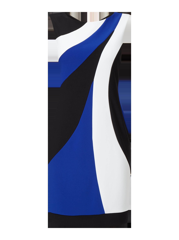 ribkoff – kleid im dreifarbigen design – royalblau