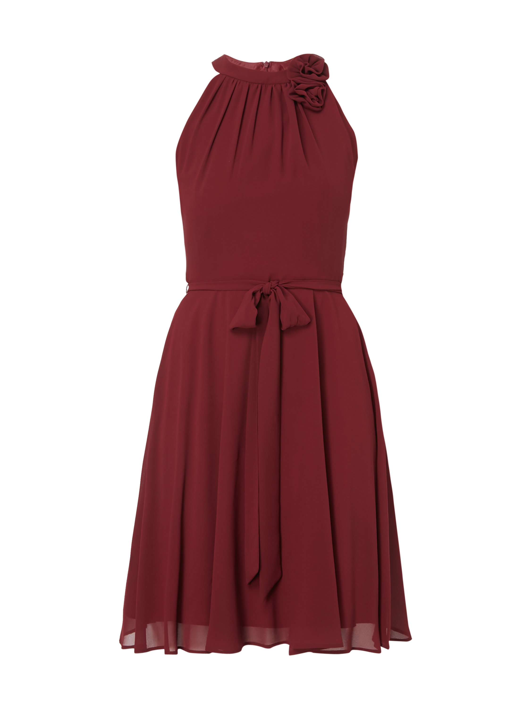Marie Blanc Cocktailkleid aus Krepp mit Blüten-Applikation Rot - 1 ... 1433669b9a