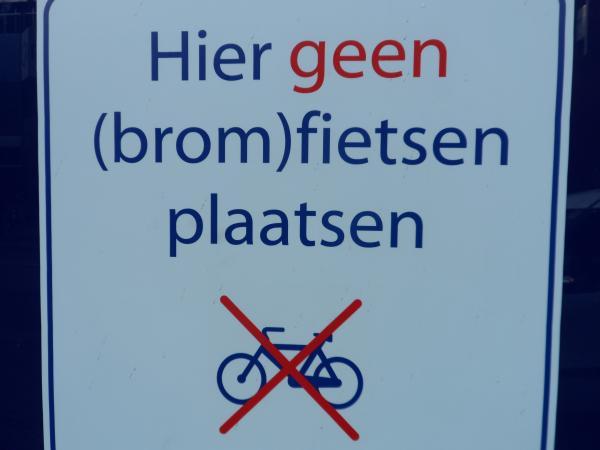 hier geen fietsen plaatsen