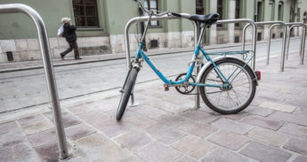 New bicycle racks at the centre of old town in Krakow
