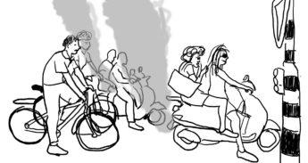 Uitstoot van scooters op het fietspad