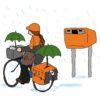 Fietsende postbode in de regen