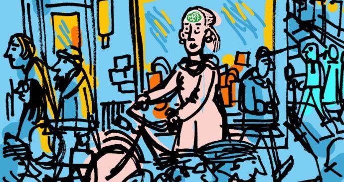 Illsutraie van oudere fietser in verkeerschaos