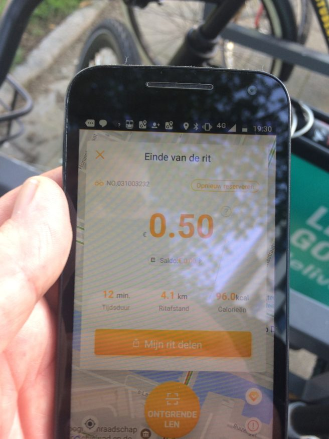 oBike app smartphone, deelfiets