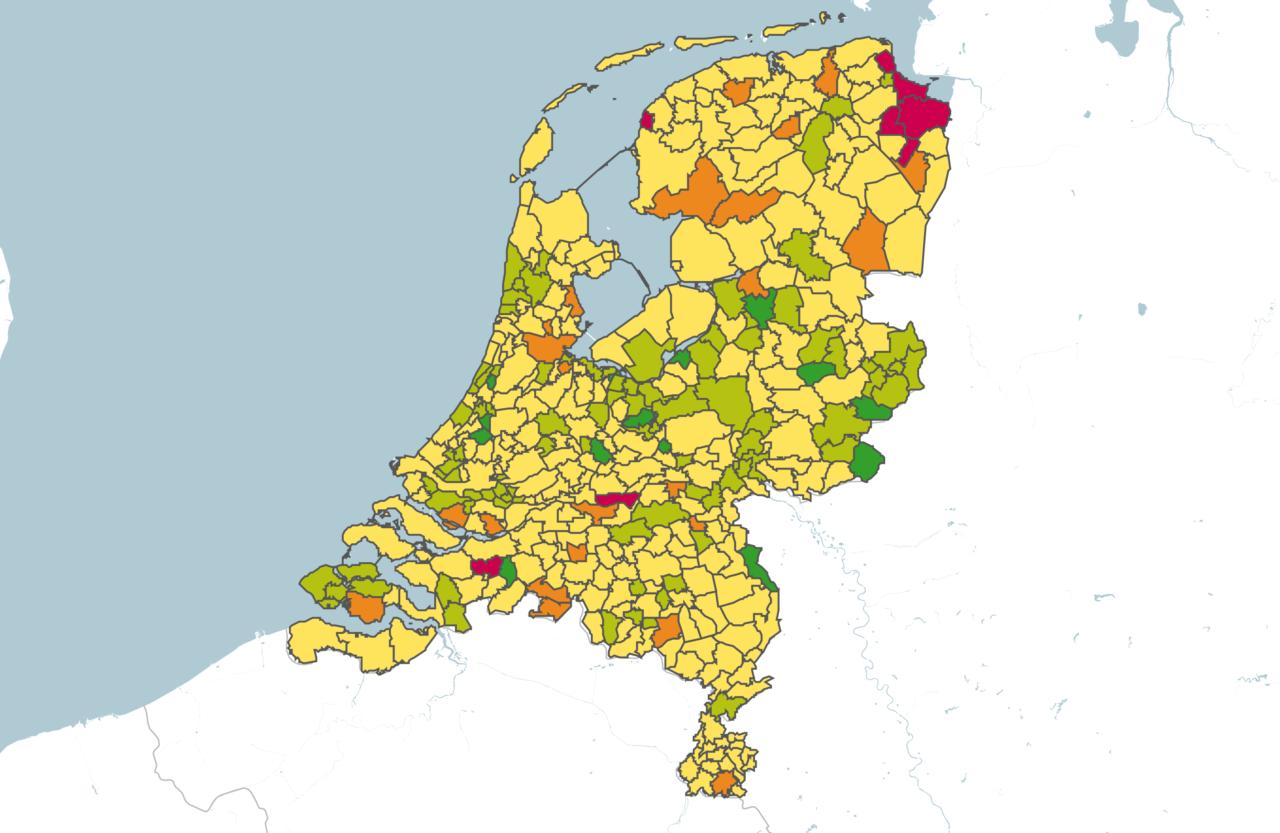 Plattegrond van Nederland met scores op fietsgebied