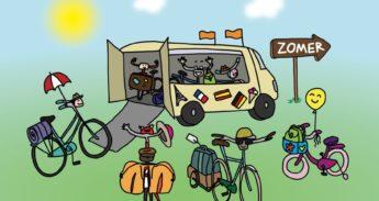 illustratie van fietsen die in een bus stappen