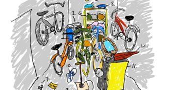 Tekening van ene fietsenschuur met allemaal troep