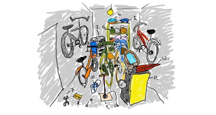 Tekening van een fietsenschuur met allemaal troep