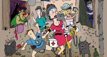 Illustratie: Fietstourgids loodst uitgelaten toeristen door zakkenrollende stad
