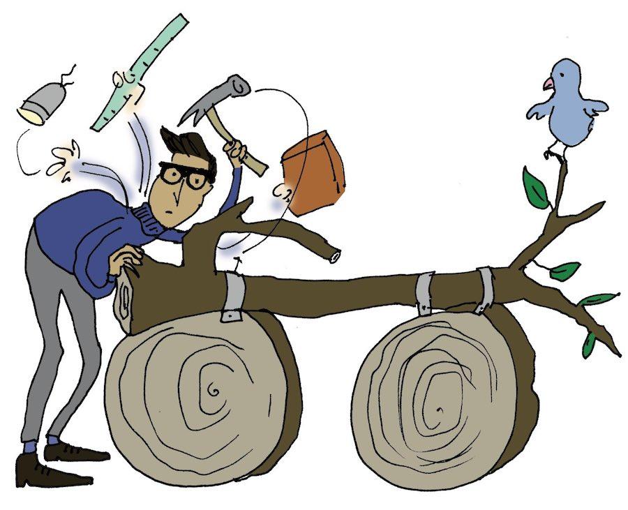 Illustratie van ontwerper met boom met twee 'wielen'