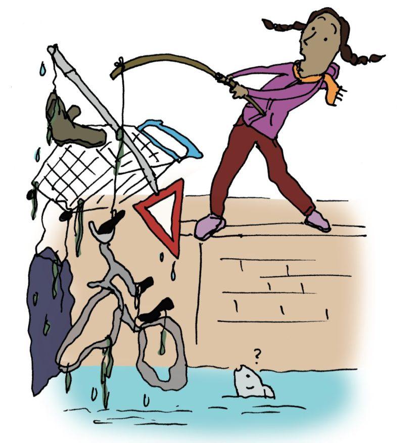 Illustratie van vrouw die fiets uit het water hengelt