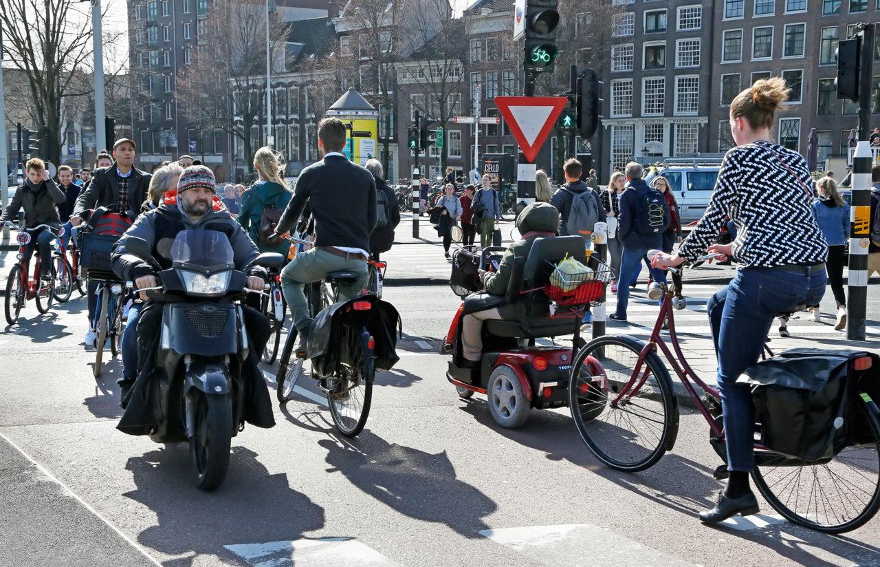 Verkeersdrukte in Amsterdam