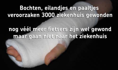 Bochten, eilandjes en paaltjes veroorzaken 3000 ziekenhuis gewonden nog véél meer fietsers zijn wel gewond maar gaan niet naar het ziekenhuis